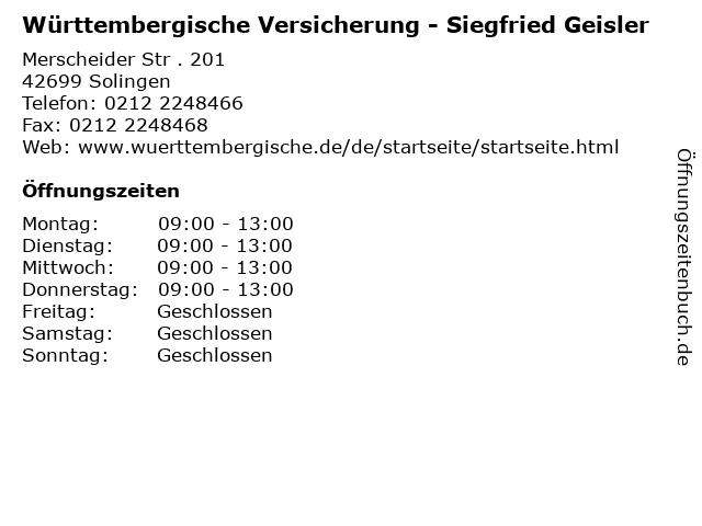 Württembergische Versicherung - Siegfried Geisler in Solingen: Adresse und Öffnungszeiten