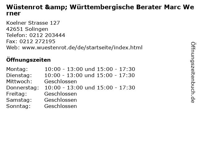 Wüstenrot & Württembergische Berater Marc Werner in Solingen: Adresse und Öffnungszeiten