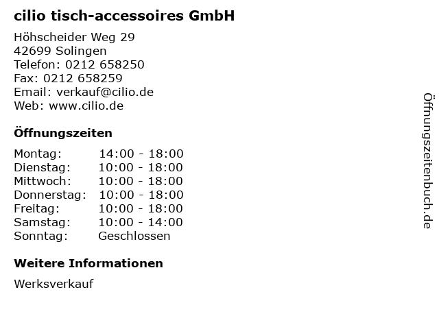 cilio tisch-accessoires GmbH in Solingen: Adresse und Öffnungszeiten