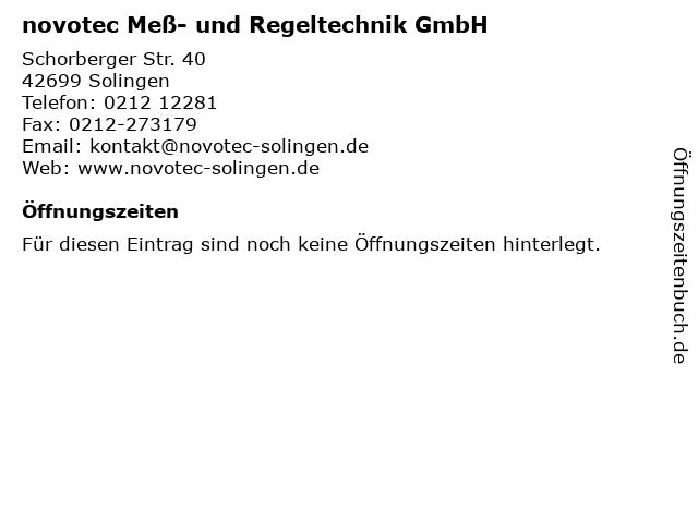 novotec Meß- und Regeltechnik GmbH in Solingen: Adresse und Öffnungszeiten