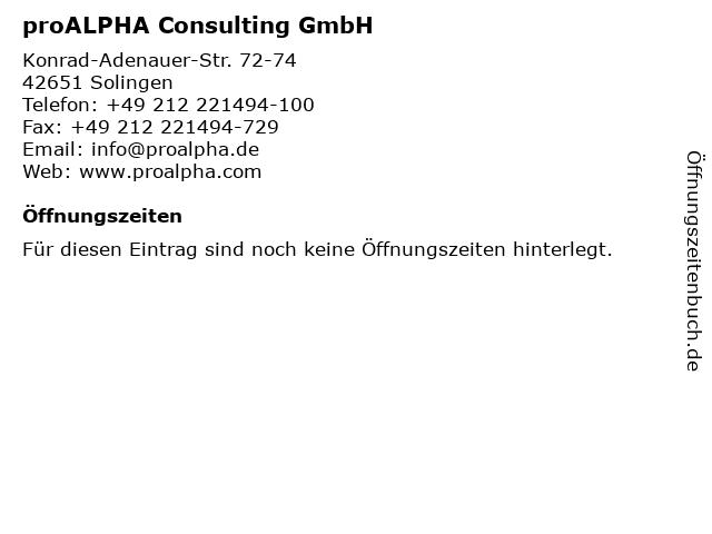proALPHA Consulting GmbH in Solingen: Adresse und Öffnungszeiten