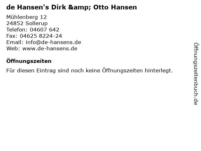de Hansen's Dirk & Otto Hansen in Sollerup: Adresse und Öffnungszeiten