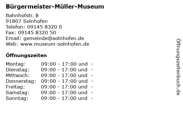 Bürgermeister-Müller-Museum in Solnhofen: Adresse und Öffnungszeiten