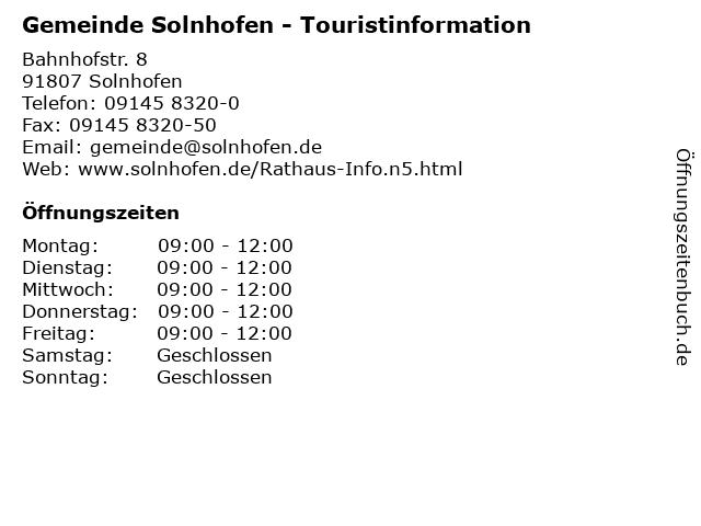 Gemeinde Solnhofen - Touristinformation in Solnhofen: Adresse und Öffnungszeiten