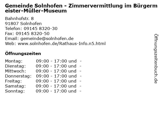 Gemeinde Solnhofen - Zimmervermittlung im Bürgermeister-Müller-Museum in Solnhofen: Adresse und Öffnungszeiten
