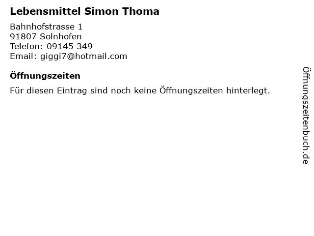 Lebensmittel Simon Thoma in Solnhofen: Adresse und Öffnungszeiten