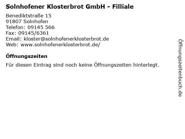 Solnhofener Klosterbrot GmbH - Filliale in Solnhofen: Adresse und Öffnungszeiten