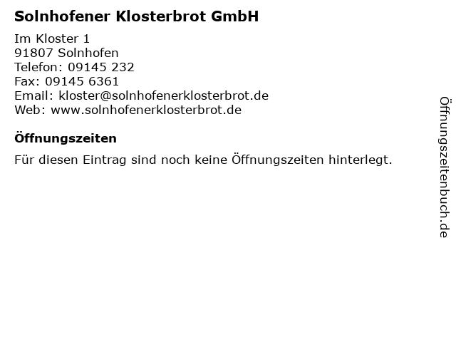 Solnhofener Klosterbrot GmbH in Solnhofen: Adresse und Öffnungszeiten