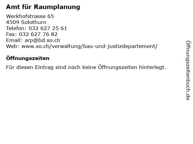 Amt für Raumplanung in Solothurn: Adresse und Öffnungszeiten