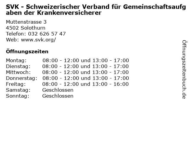 SVK - Schweizerischer Verband für Gemeinschaftsaufgaben der Krankenversicherer in Solothurn: Adresse und Öffnungszeiten