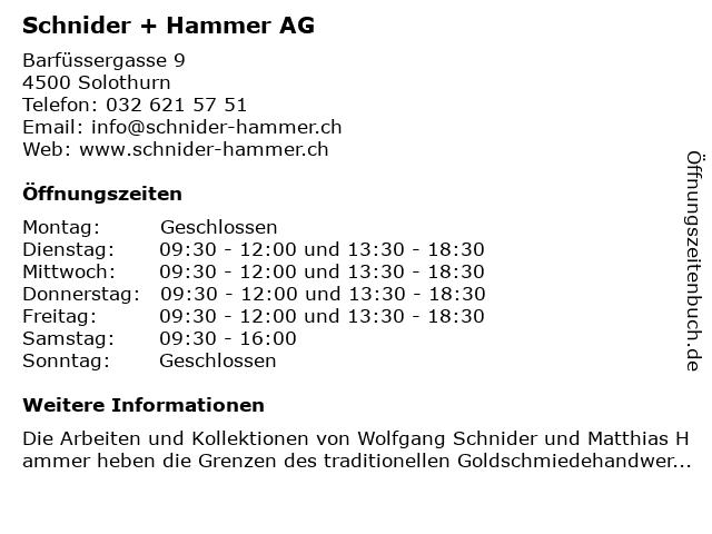 Schnider & Hammer AG in Solothurn: Adresse und Öffnungszeiten