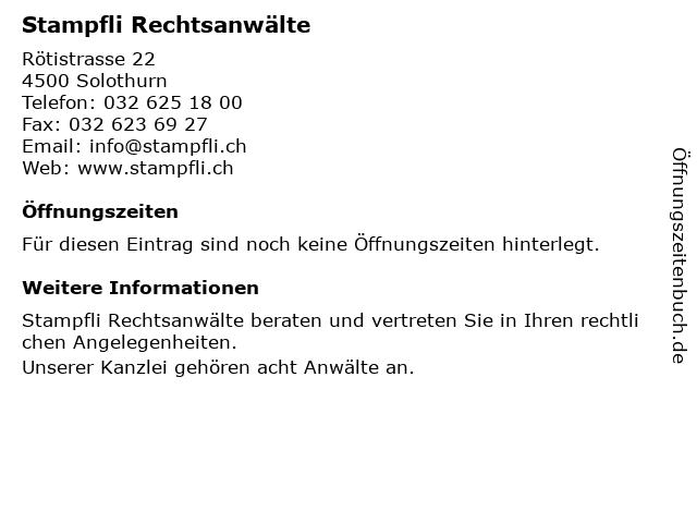 Stampfli Rechtsanwälte in Solothurn: Adresse und Öffnungszeiten