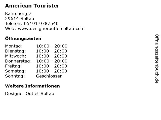 American Tourister in Soltau: Adresse und Öffnungszeiten