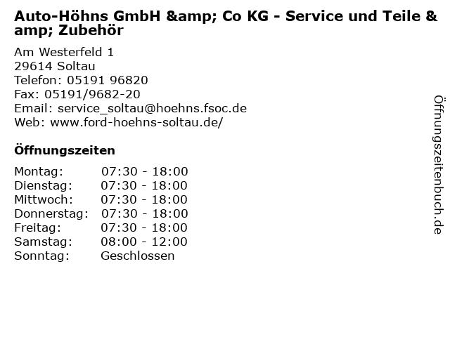 Auto-Höhns GmbH & Co KG - Service und Teile & Zubehör in Soltau: Adresse und Öffnungszeiten