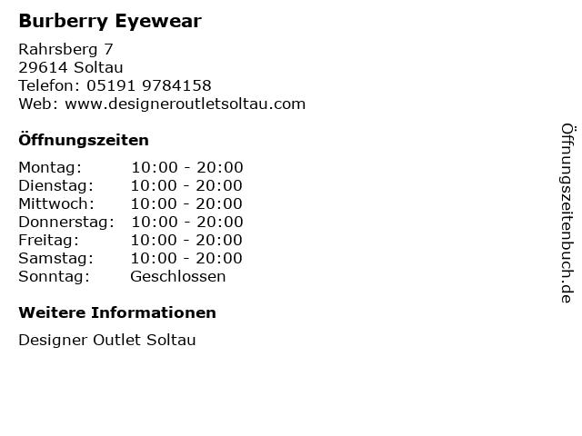 Burberry Eyewear in Soltau: Adresse und Öffnungszeiten