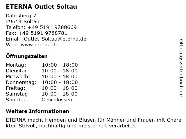 ETERNA Outlet in Soltau: Adresse und Öffnungszeiten