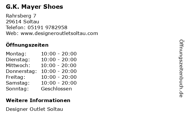 G.K. Mayer Shoes in Soltau: Adresse und Öffnungszeiten