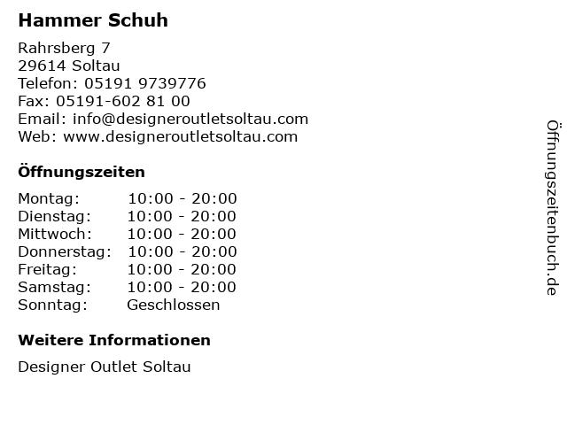 Hammer Schuh in Soltau: Adresse und Öffnungszeiten