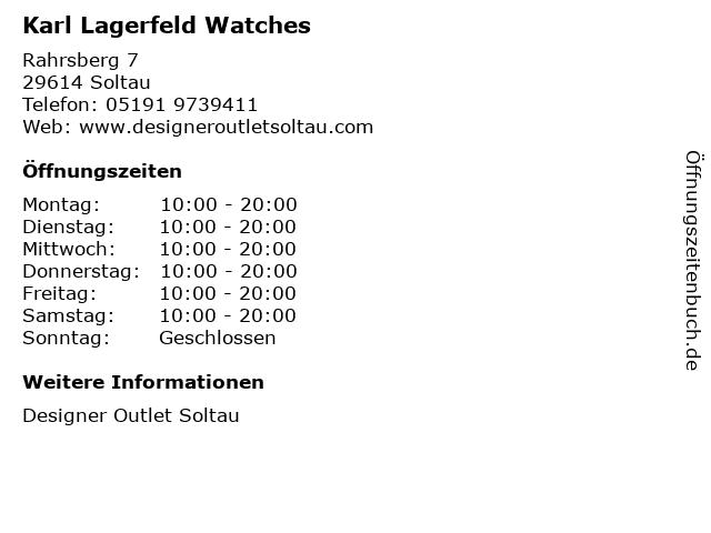 Karl Lagerfeld Watches in Soltau: Adresse und Öffnungszeiten