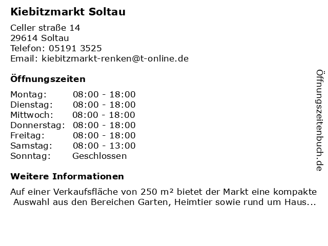Kiebitzmarkt Soltau in Soltau: Adresse und Öffnungszeiten