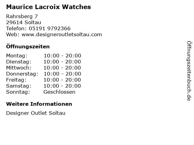 Maurice Lacroix Watches in Soltau: Adresse und Öffnungszeiten