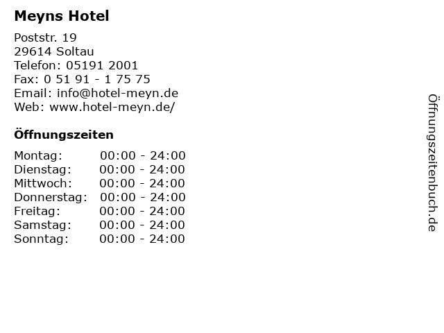 Meyns Hotel in Soltau: Adresse und Öffnungszeiten