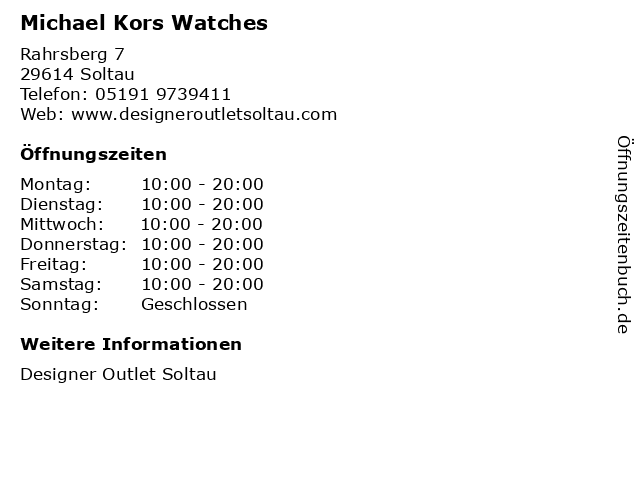 Michael Kors Watches in Soltau: Adresse und Öffnungszeiten