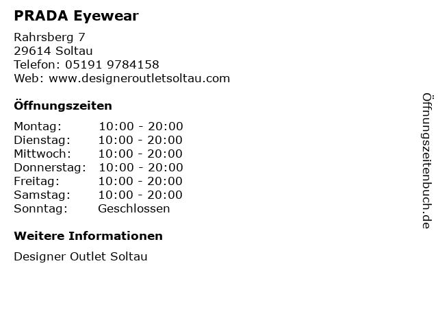 PRADA Eyewear in Soltau: Adresse und Öffnungszeiten