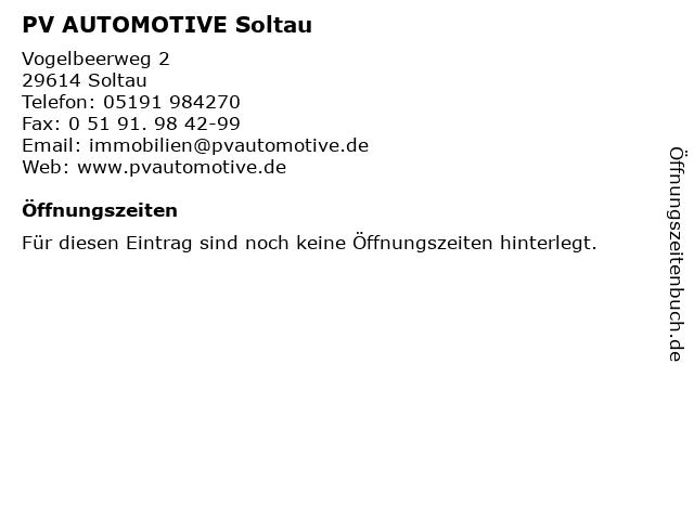 PV AUTOMOTIVE Soltau in Soltau: Adresse und Öffnungszeiten