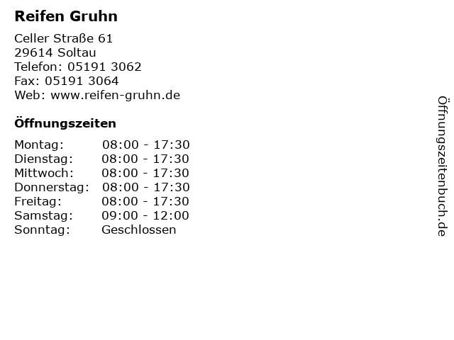 Reifen Gruhn in Soltau: Adresse und Öffnungszeiten