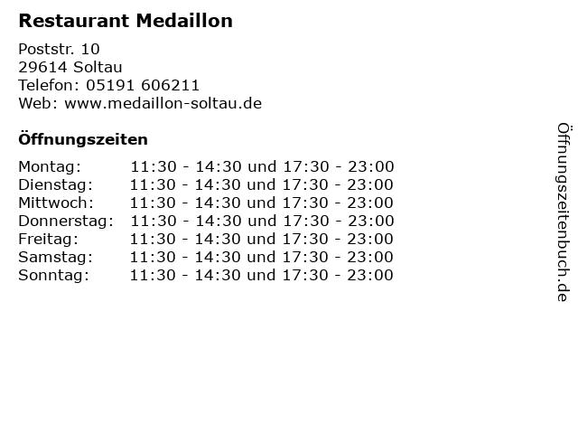 ᐅ öffnungszeiten Restaurant Medaillon Poststr 10 In Soltau