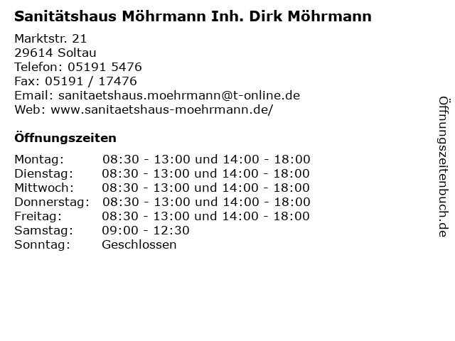 Sanitätshaus Möhrmann Inh. Dirk Möhrmann in Soltau: Adresse und Öffnungszeiten