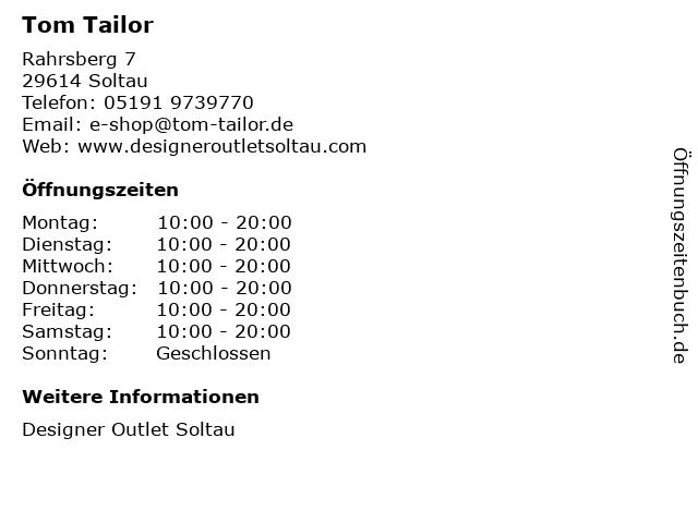 Tom Tailor in Soltau: Adresse und Öffnungszeiten