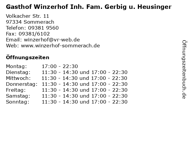 Gasthof Winzerhof Inh. Fam. Gerbig u. Heusinger in Sommerach: Adresse und Öffnungszeiten