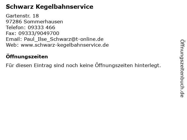 Schwarz Kegelbahnservice in Sommerhausen: Adresse und Öffnungszeiten