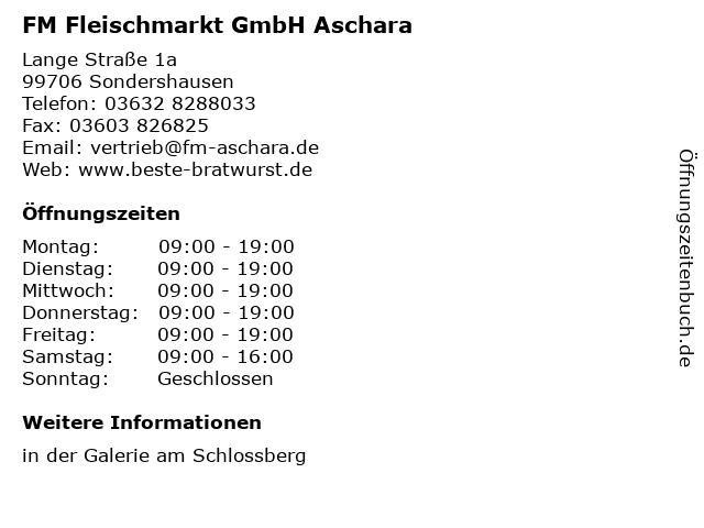 FM Fleischmarkt GmbH Aschara in Sondershausen: Adresse und Öffnungszeiten