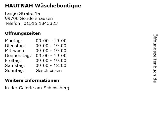 HAUTNAH Wäscheboutique in Sondershausen: Adresse und Öffnungszeiten