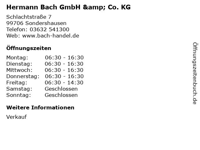 ᐅ Offnungszeiten Hermann Bach Gmbh Co Kg Schlachtstrasse 7 In