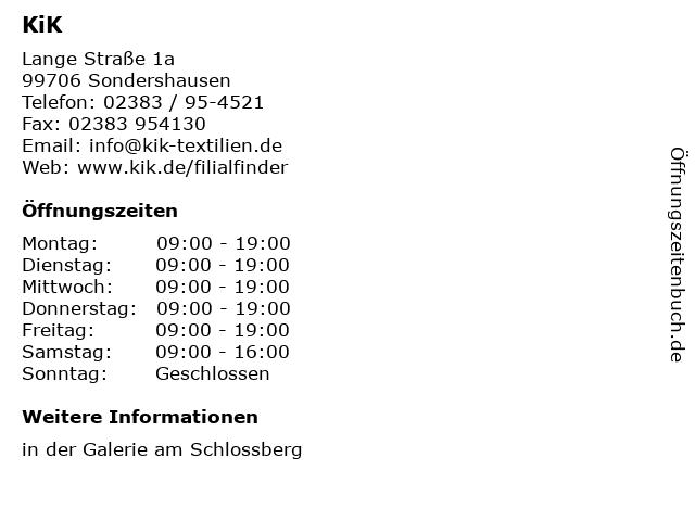 KiK Textilien & Non-Food GmbH in Sondershausen: Adresse und Öffnungszeiten