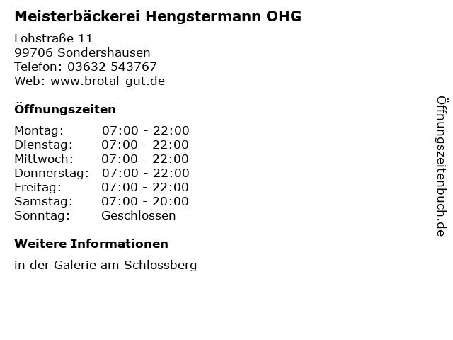 Meisterbäckerei Hengstermann OHG in Sondershausen: Adresse und Öffnungszeiten