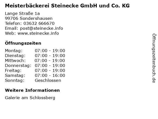 Meisterbäckerei Steinecke GmbH und Co. KG in Sondershausen: Adresse und Öffnungszeiten