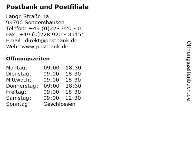 Postbank und Postfiliale in Sondershausen: Adresse und Öffnungszeiten