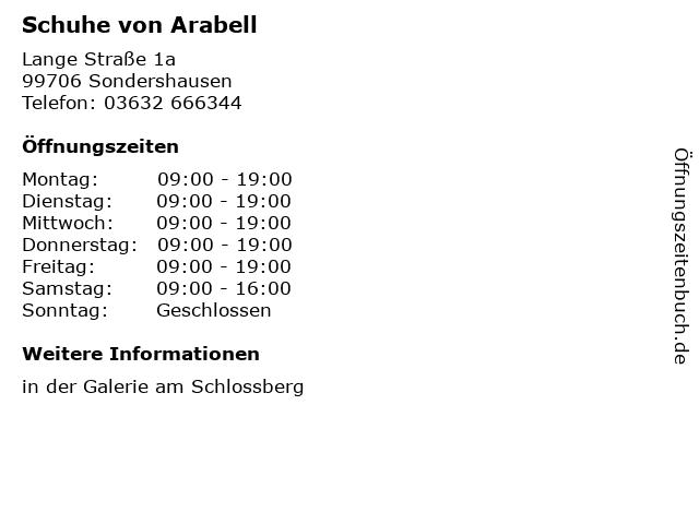Schuhe von Arabell in Sondershausen: Adresse und Öffnungszeiten
