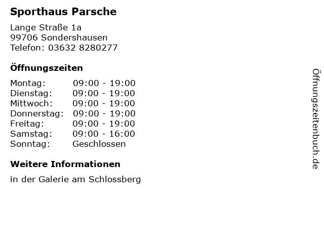 Sporthaus Parsche in Sondershausen: Adresse und Öffnungszeiten