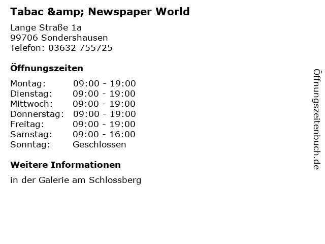 Tabac & Newspaper World in Sondershausen: Adresse und Öffnungszeiten