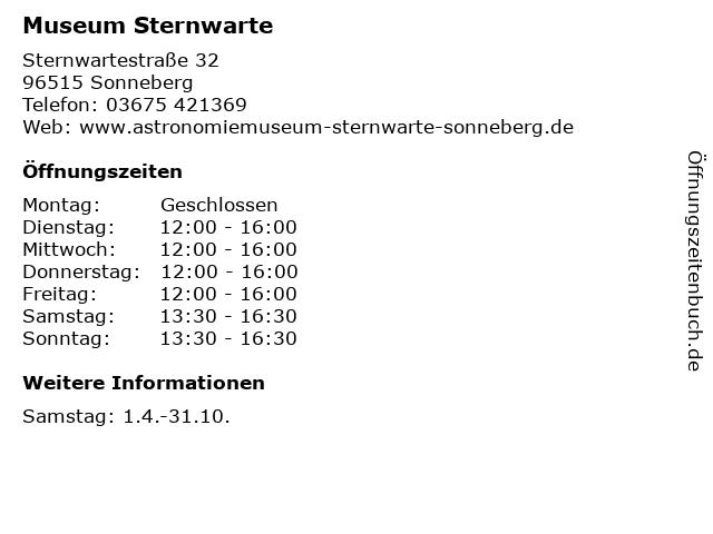 Museum Sternwarte in Sonneberg: Adresse und Öffnungszeiten