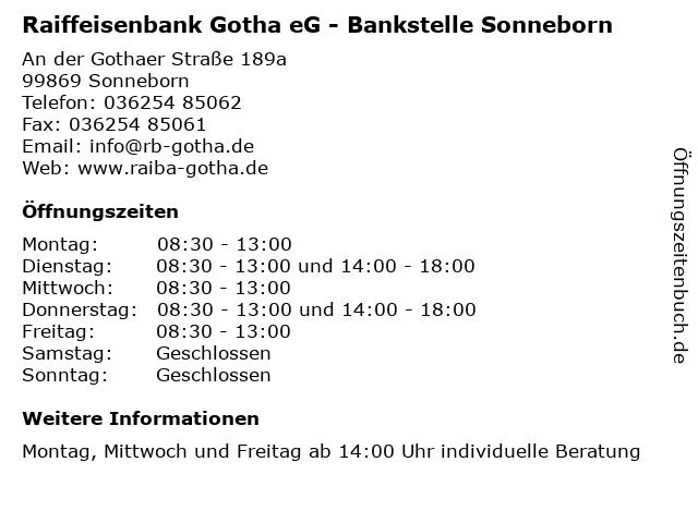 ᐅ öffnungszeiten Raiffeisenbank Gotha Eg Bankstelle Sonneborn