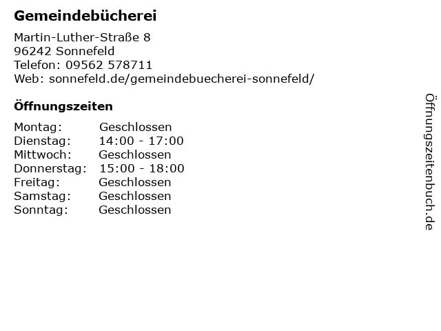 Gemeindebücherei in Sonnefeld: Adresse und Öffnungszeiten