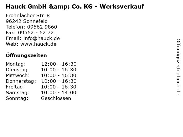 """ᐅ Öffnungszeiten """"Hauck GmbH & Co. KG - Werksverkauf ..."""