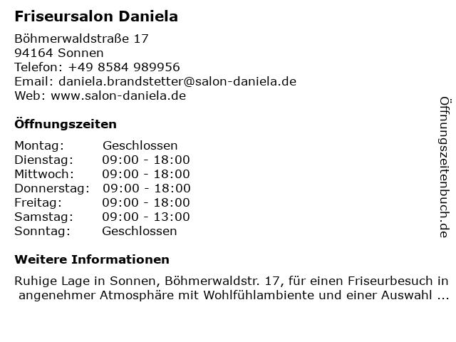 Friseursalon Daniela in Sonnen: Adresse und Öffnungszeiten